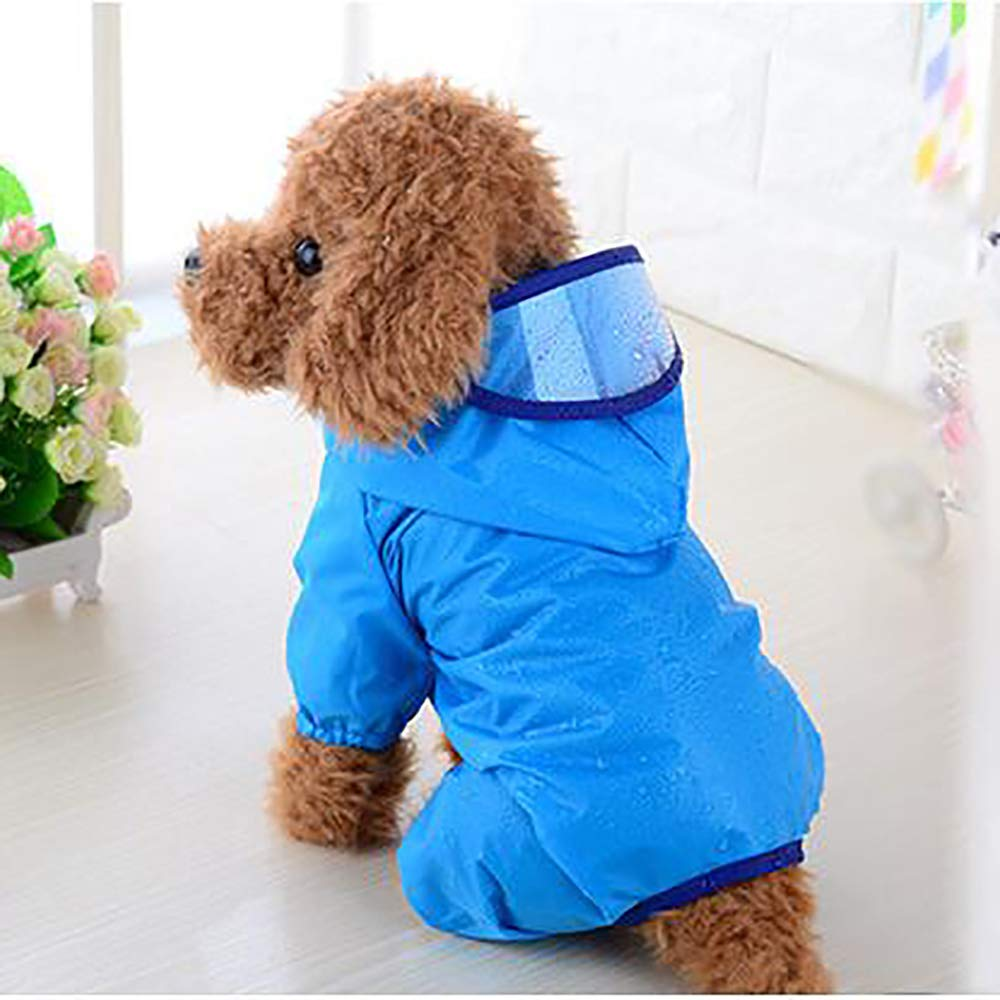 bluee SmallPet Dog Raincoat,Dog Raincoat with Hood and Collar Hole,UltraLight Breathable 100% Waterproof Rain Jacket for Small and Medium Breed Dog,Multicolor and Multisize,bluee,S