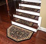 Dean Premium Carpet Stair Treads - Classic Keshan Ebony 31'' W (Set of 15) Plus a Matching Landing Hearth Mat 27'' x 39'' (2x3)