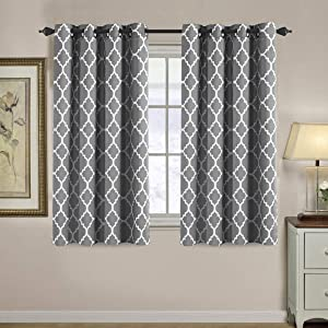 H.VERSAILTEX Blackout Curtains for Living Room/Bedroom Thermal Insulated Energy Saving Grommet Window Curtain Drapes (2 Panels) Geometric Moroccan Printed Draperies, Grey and White, 52 by 63 Inch