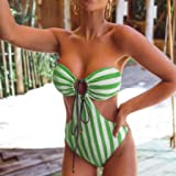 Mlide Womens Sexy Striped Drawstring One Piece