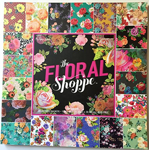 The Floral Shoppe 12x12 Scrapbooking Paper Pad, 80 Sheets, Colorful, Bright, -