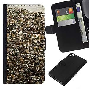 KLONGSHOP // Tirón de la caja Cartera de cuero con ranuras para tarjetas - Río de Janeiro ciudad Edificios Brasil - HTC Desire 820 //