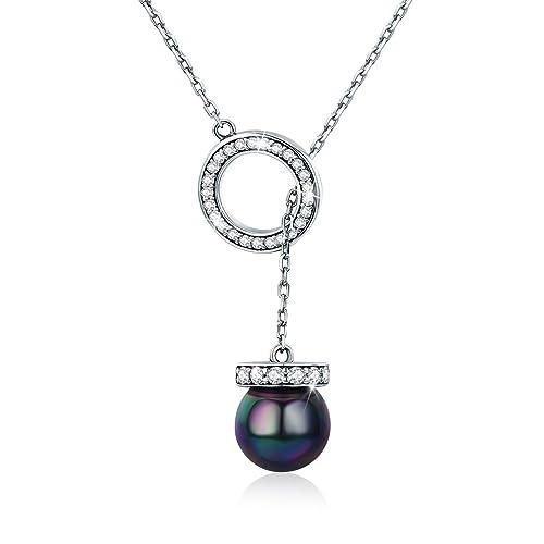 cheap for discount 44c62 f77e4 FOREVER QUEEN Collana di perle nere 8mm rotonda, 100% argento 925 collana  lunga in argento per donna ragazza, regali anniversario, 18 pollici BJ09071