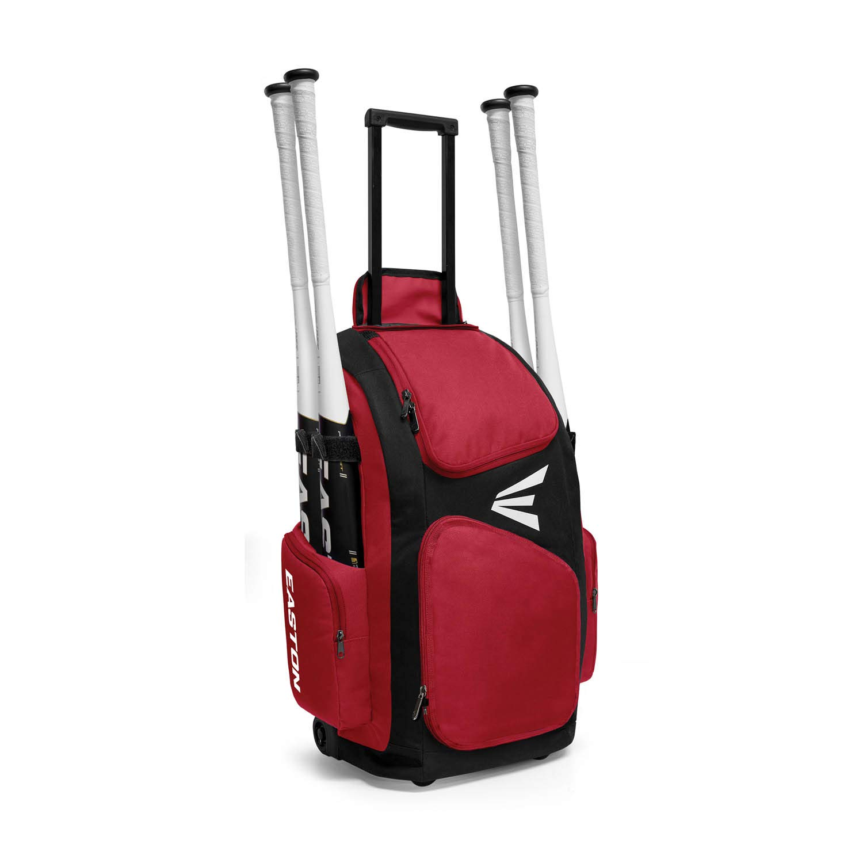 EASTON TRAVELER Bat & Equipment Wheeled Bag | Baseball Softball | 2019 | Red | 4 Bat Sleeves | Vented Gear & Shoe Compartments | 2 Side Zippered Pockets | Telescope Handle | Stands Up | Fence Hook