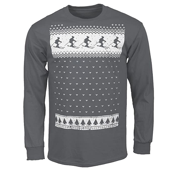 Mens Nordic Winter Ski Long Sleeved Tshirt Great alternative to the Christmas  Jumper - Charcoal: Amazon.co.uk: Clothing