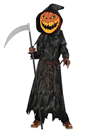 jack o lantern boys fancy dress halloween pumpkin reaper kids childrens costume 8