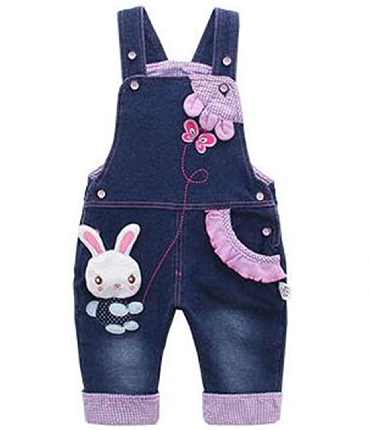 Baby Girl Overalls Spring Infant Cotton Jeans Rabbit Rompers Bebes Cartoon Clothes Toddler Denim Pants Jumpsuit