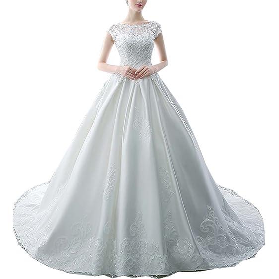 Jasminebridal Women\'s Satin Lace Sleeveless Wedding Dresses Wedding ...