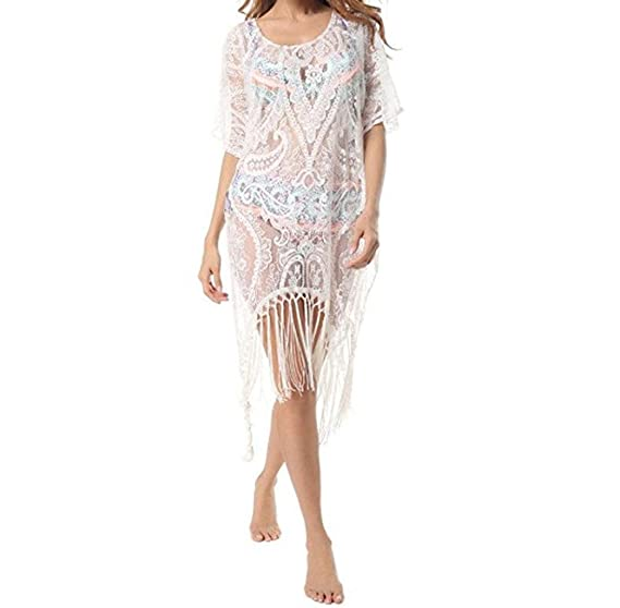 ❤ Amlaiworld Vestidos de playa mujer Sexy Verano Mujeres Tops de encaje floral Vestidos de baño Bikini Cover up Trajes de Baño Cubrir mujer Camisolas y ...