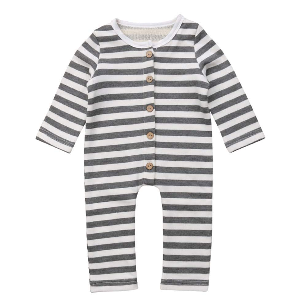 Vinjeely Infant Baby Boys Girls Grey Striped Long Sleeves Romper Outfits 0-24M