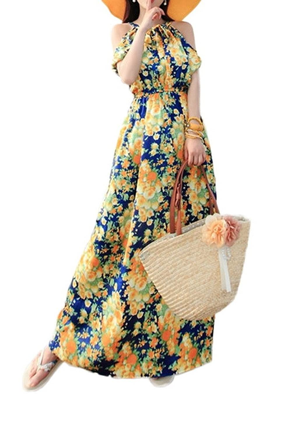 Woo2u Women Off Shoulder Maldives Beach Dress Boho Summer Party Maxi Dress