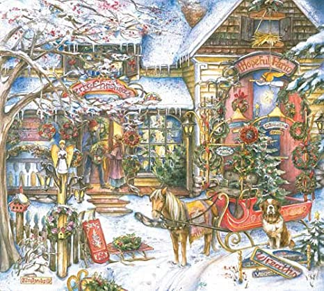 Hopeful Farm by Kim Jacobs 1000 Piece Christmas Themed Puzzle master Pieces