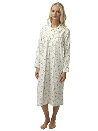 24fe3b2748 Ladies Floral Print Wincy Brushed Cotton Nightdresses with Lace Trim Size 8  to 26  Amazon.co.uk  Clothing