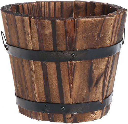 Fogun - Macetas redondas de madera para decoración de jardín o al aire libre: Amazon.es: Jardín