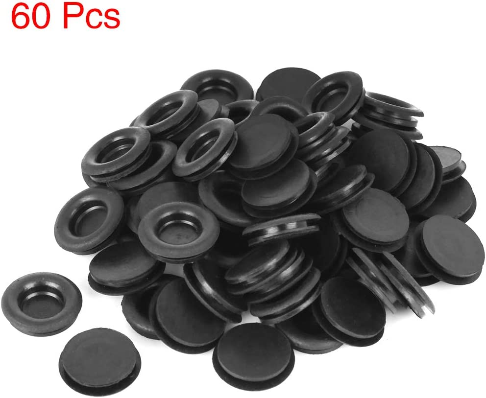 X AUTOHAUX 60pcs 14mm Rubber Grommet Eyelet Ring Gasket Single Side O Ring Electric Cable Protector Black for Car