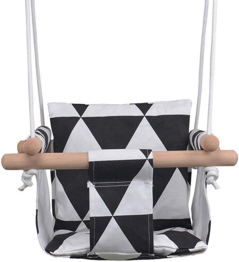 Asiento de Columpio Silla Colgante de Lona para bebés y niños pequeños, Columpio Seguro Hamaca de Interior y Exterior Toy A ++ (Color: Negro)