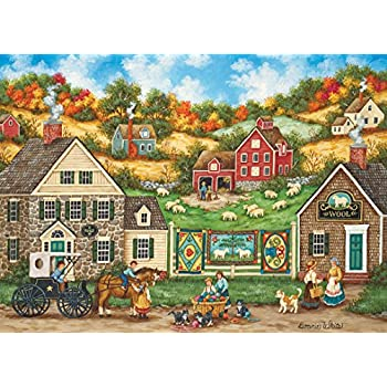 MasterPieces Hometown Gallery Great Balls of Yarn Wool Shop Jigsaw Puzzle by Bonnie White, 1000-Piece