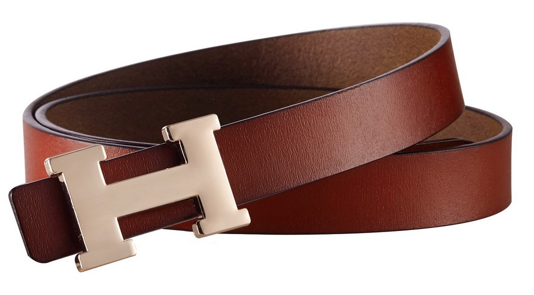 Fashion H-Style Slim Belt for Women Lady [2.5cm Belt Width] (Brown, 95cm (Waist 27''~33'' or Below)) by Amone Ling (Image #3)