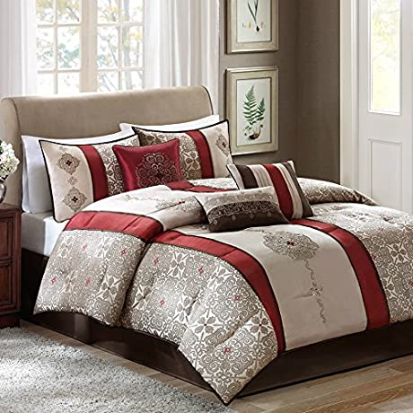 King Size Elegant Bedding Comforter Set With Embroidery Details 7 Piece Red Color