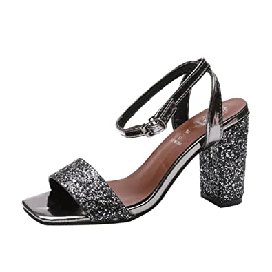 a70b40a29a Block Heels for Women Jamicy Summer Sequins Wedges High Heeled Party Casual  Shoes (35,