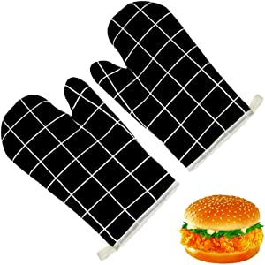 Oven Mitts Potholders 1 Pair Quilted Cotton Lining, Flame Heat Resistant Kitchen Gloves for Large and Small Hands, Giftable Long Enough Baking Oven Mitts Easy to Hold Clean and Use