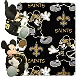 2 Piece NFL Saints Throw Blanket Full Set With Disney Mickey Mouse Character Shaped Pillow, Sports P