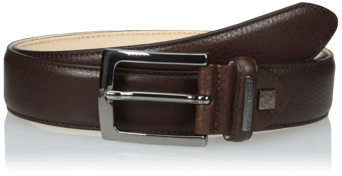 Bruno Magli Men's Soft Grain Leather Belt, Brown, 34