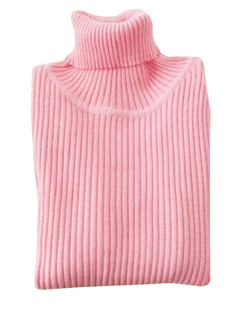 Etecredpow Girls Pullover Slim Fit Turtleneck Jumper Knit Pure Color Sweaters