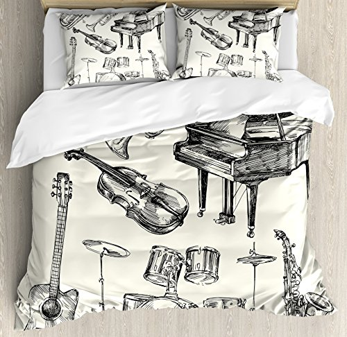 Ambesonne Jazz Music Duvet Cover Set King Size, Collection of Musical Instruments Sketch Style Art with Trumpet Piano Guitar, Decorative 3 Piece Bedding Set with 2 Pillow Shams, Beige Black (Kings Three Trumpet We)
