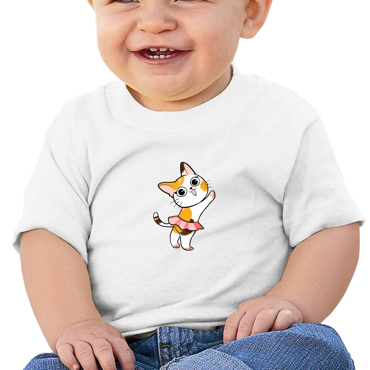 BuecoutesDance Cat Toddler//Infant Short Sleeve Cotton T Shirts White