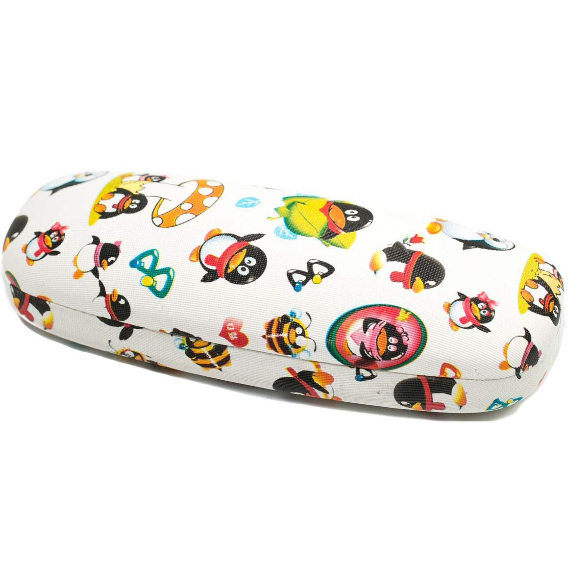 Handmade Russian Eyeglass case for a boy, white with a color print, on a solid basis, covered with artificial leather