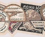 Vintage Ocean Air Rail Transport Ads from Around the World Beige Brown Black Wallpaper Border Retro Design, Roll 15' x 8''