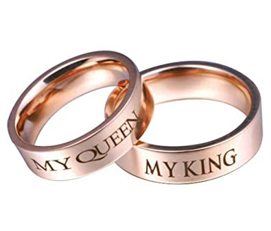 1fbbd847608f9 LAFATINA Wedding Band MY KING MY QUEEN Ring, Stainless Steel Wedding Band  Set Anniversary Engagement Promise Ring, Price Separated King and Queen ...