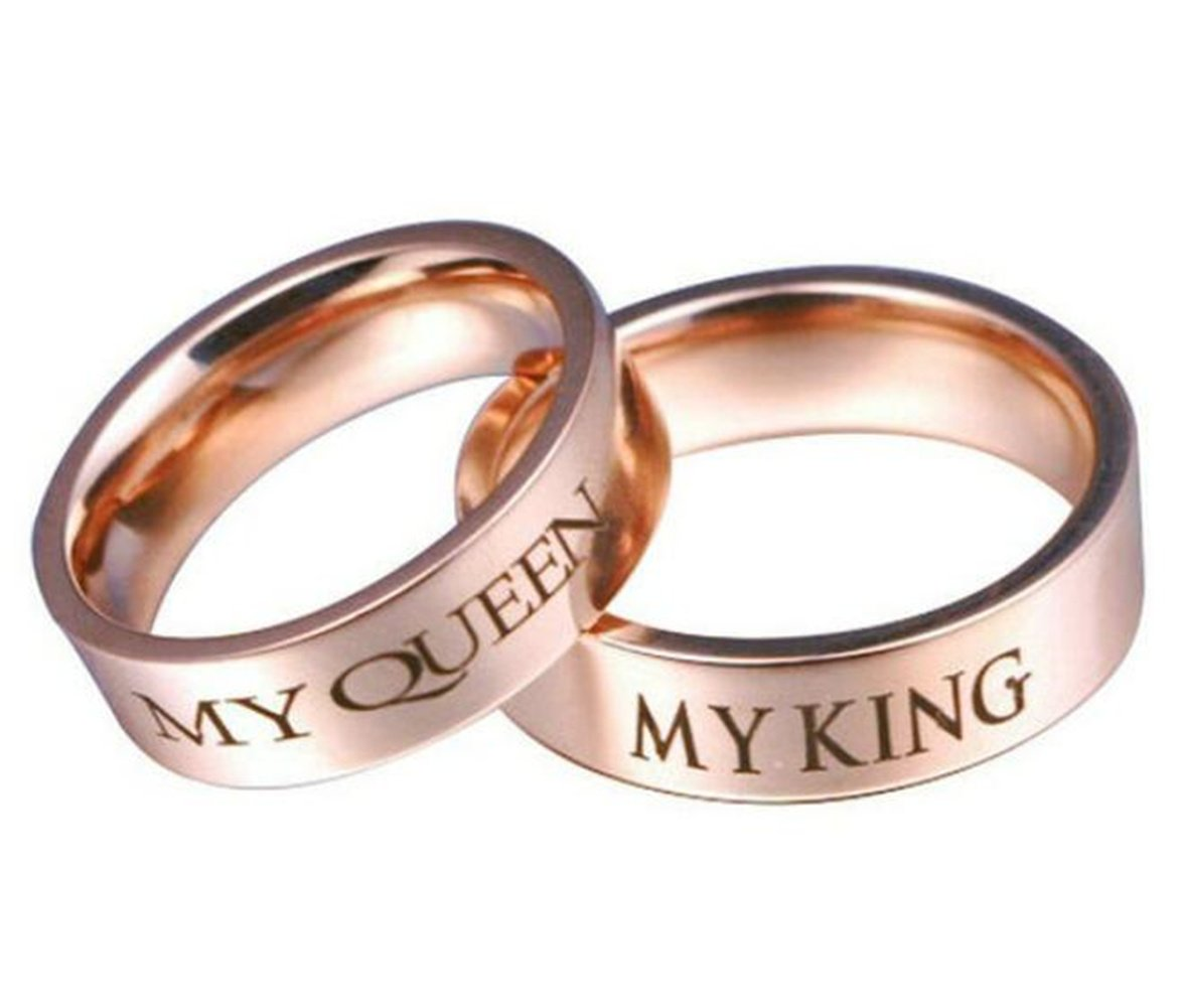 LAFATINA Wedding Band MY KING Ring, Stainless Steel Wedding Band Set Anniversary Engagement Promise Ring, Price Separated King and Queen Rings for Him and Her