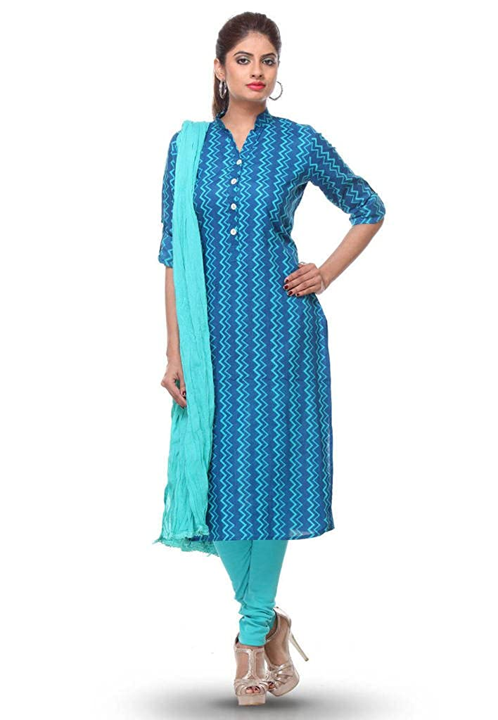 Buy Blue Printed Cotton Kurti Legging Dupatta Suit At Amazon In