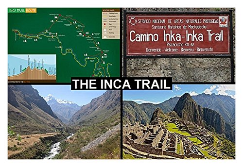 SOUVENIR FRIDGE MAGNET - INCA TRAIL PERU 3½ x 2½ inches Jumbo