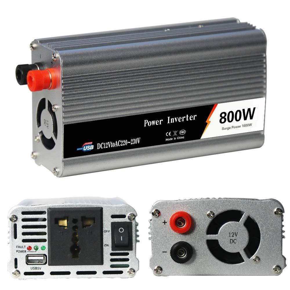 1 AC-Universalsteckdose DC 12V zu AC 220V ZIHENGUO 800W Wechselrichter 230V 50Hz Transformer Peak 1600W Auto-Konverter mit 1 USB-Anschluss