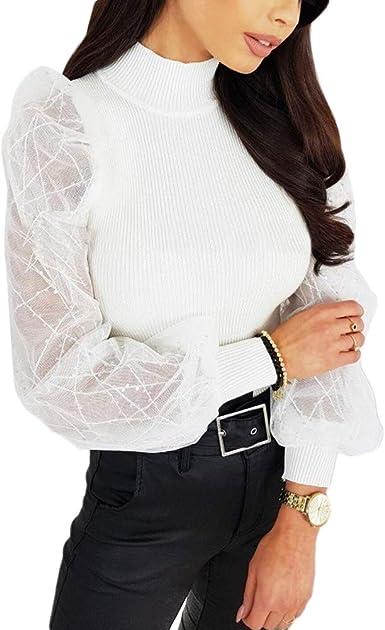 Camiseta Manga Larga Transparente Bordado para Mujer Blusa Mujer ...