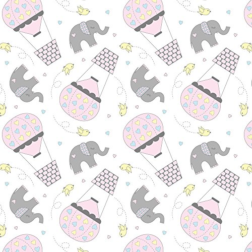 Baby Elephants Fabric Elephants And Hot Air Balloons Pink by Jenniferfranklin Printed on Basic Cotton Ultra Fabric by the Yard by - Hot Air Designed Balloon