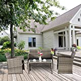 Cloud Mountain 4 Piece Rattan Furniture Set Patio Conversation Set Deal
