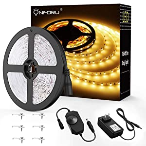 Onforu 16.4ft Dimmable LED Strip Lights Kit, 300 Units 2835 LED Tape Light, UL Listed Power Supply, 12V Under Cabinet Lighting Strips, 5M LED Ribbon, 3000K Warm White, Non-Waterproof