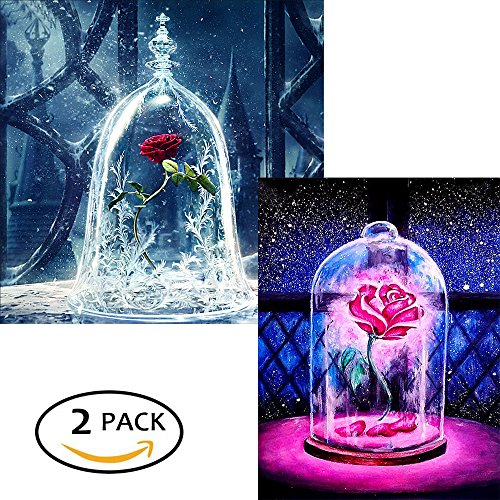 2 Pack DIY 5D Diamond Painting by Number Kits, Crystal Rhinestone Diamond Embroidery Paintings Pictures Arts Craft for Home Wall Decor, (Rose in Bottle) 2 Pack Wall Decor