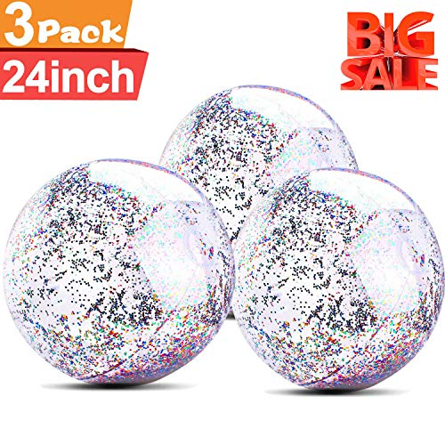 (3 Pack Beach Balls Inflatable 24 Inch for Adults and Kids Glitter Jumbo Giant Confetti Transparent Balls for Family Children Sports and Outdoor Swimming Pools and Water Fun)