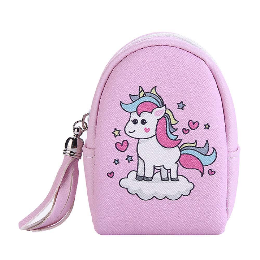 Scofeifei Portamonete Bambina Unicorno Portafoglio Corto Donna Borsellino Ragazza Rosa (Colore : Rosa)