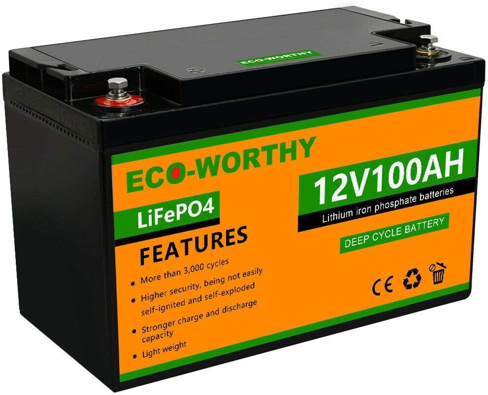 3000+ Life Cycles Perfect for RV Boat Power Wheels ECO-Worthy 12V 20Ah LiFePO4 Lithium Iron Deep Cycle Rechargeable Battery with Built-in BMS etc Tool Trailer Kids Scooters