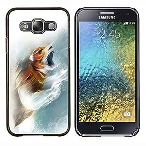 KLONGSHOP // Cubierta de piel con cierre a presión Shell trasero duro de goma Protección Caso - Fox Rugido - Samsung Galaxy E5 E500 //