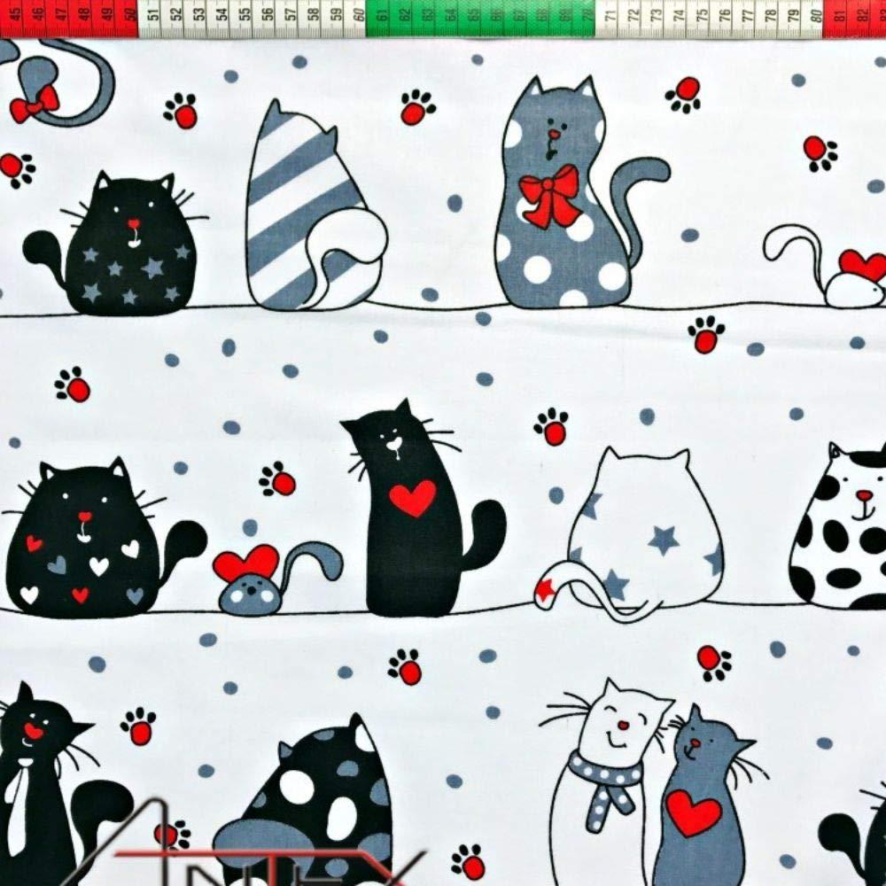 Gatto bianco grigio scuro per bambini Tessuto con stampe di gatti 100/% cotone grigio chiaro 11,99/€//m zampe 150x160cm tessuto a metraggio Pingianer