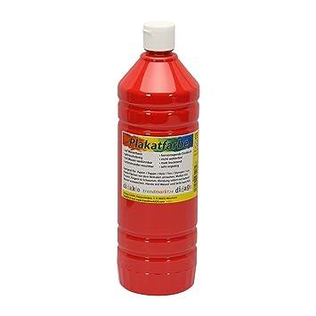 Plakatfarbe Flasche rot, matt 1 Liter / 1000ml flüssig ✓ 1l ...