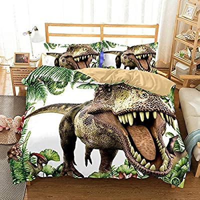 ZHH 3D Dinosaur Duvet Cover Sets Tyrannosaurus Rex Kids' Bedding Set Ultra Soft Hypoallergenic Microfiber Boys Children's Quilt Cover Bedding Set, 1 Duvet Cover Set + 2 Pillowcases(Queen Size): Home & Kitchen