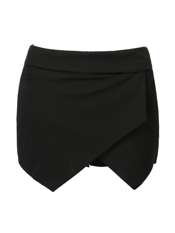 CR Women's Asymetric Hem Tulip Plain Mid Waist Skorts (X-Large, Black)